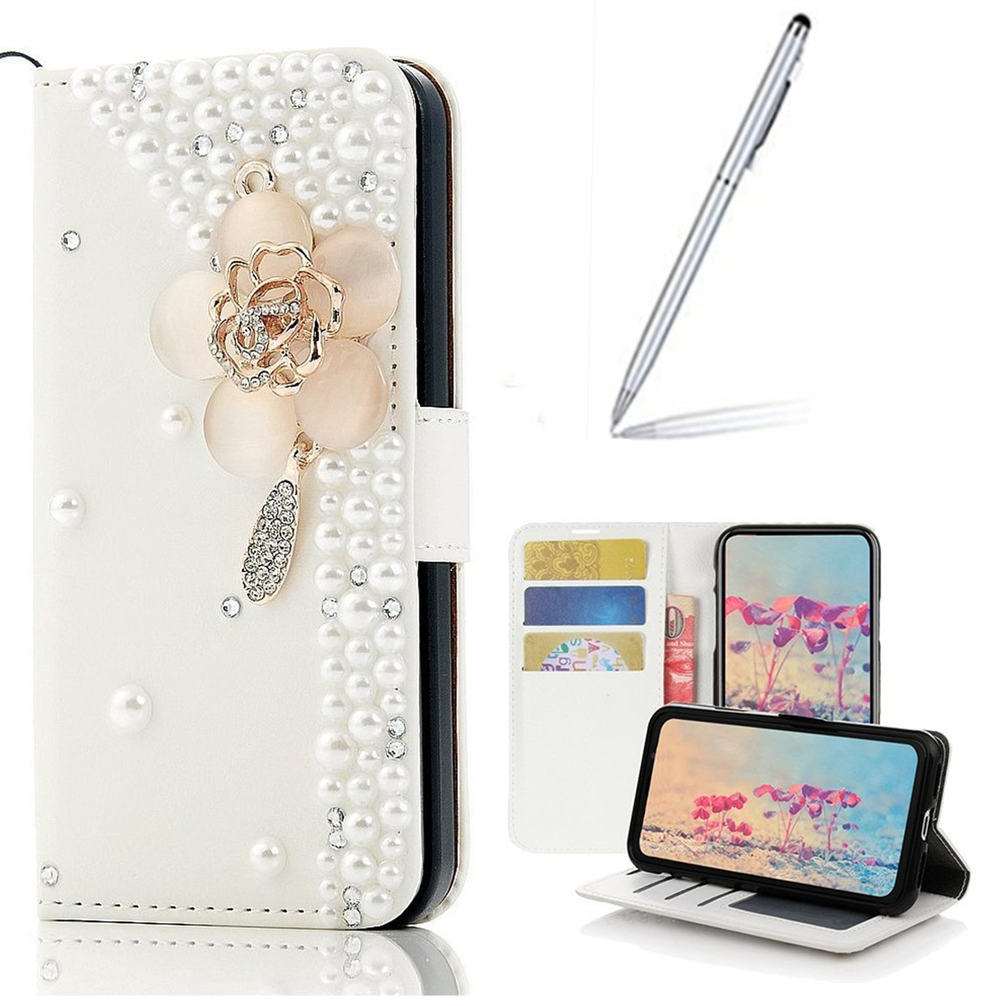 Yaheeda Galaxy J3 2018 Case with Stylus, [Stand Feature] Butterfly Wallet Premium [Glitter Luxury] Leather Flip Cover [Card Slots] for J3 Eclipse 2/J3 Orbit/J3 Achieve/J3 Express Prime 3/J3 Prime 2