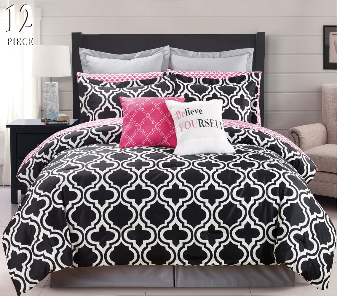 Black and pink bed sheets - Amazon Com 12 Piece Modern Bedding Black White And Pink Chic King Comforter Set Bed In A Bag With Sheets Pillow Cases Euro Shams And Accent Pillows