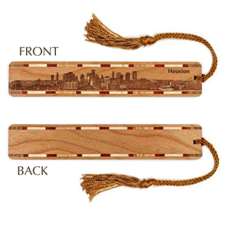 Amazon Com Houston Texas Skyline Engraved Wooden Bookmark With