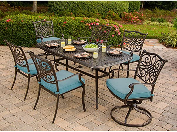 Amazon Com Hanover Traditions 7 Piece Cast Aluminum Outdoor Patio Dining Set 4 Stationary Chairs 2 Swivel Rocker Chairs Brushed Bronze Finish With Blue Cushions Rust Resistant Traddn7pcsw Blu Garden Outdoor