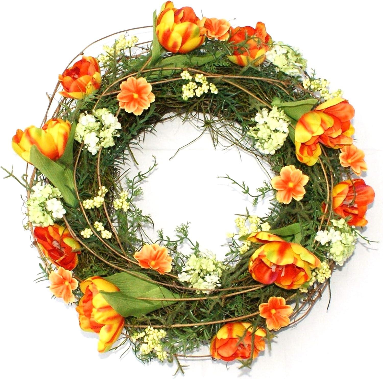 Türkranz Tulpen Blumenkranz Kranz Blütenkranz Wandkranz Tischkranz Dekokranz 35