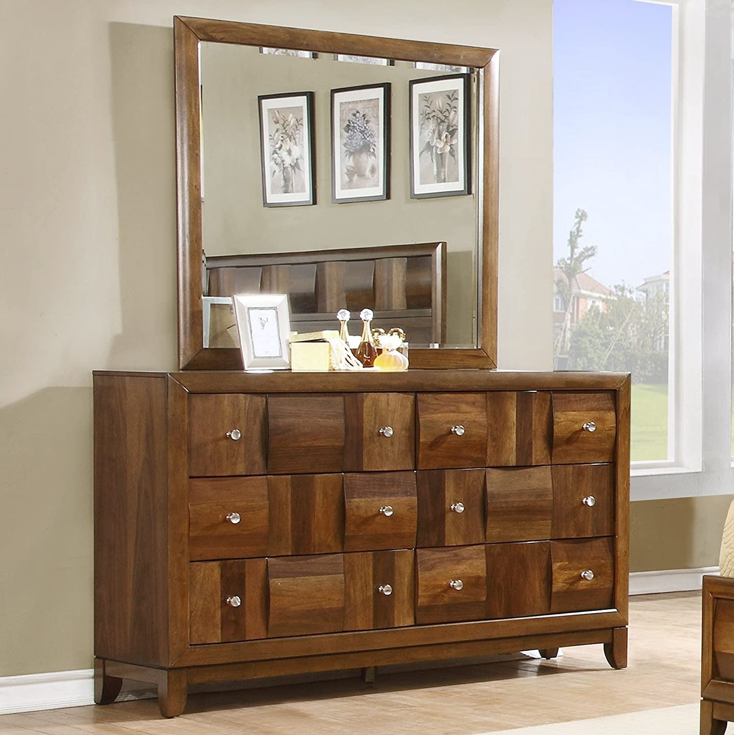 Amazon.com: Roundhill Furniture Calais Solid Wood Construction Bedroom Set  With Bed, Dresser, Mirror, 2 Night Stands, King, Walnut: Kitchen U0026 Dining