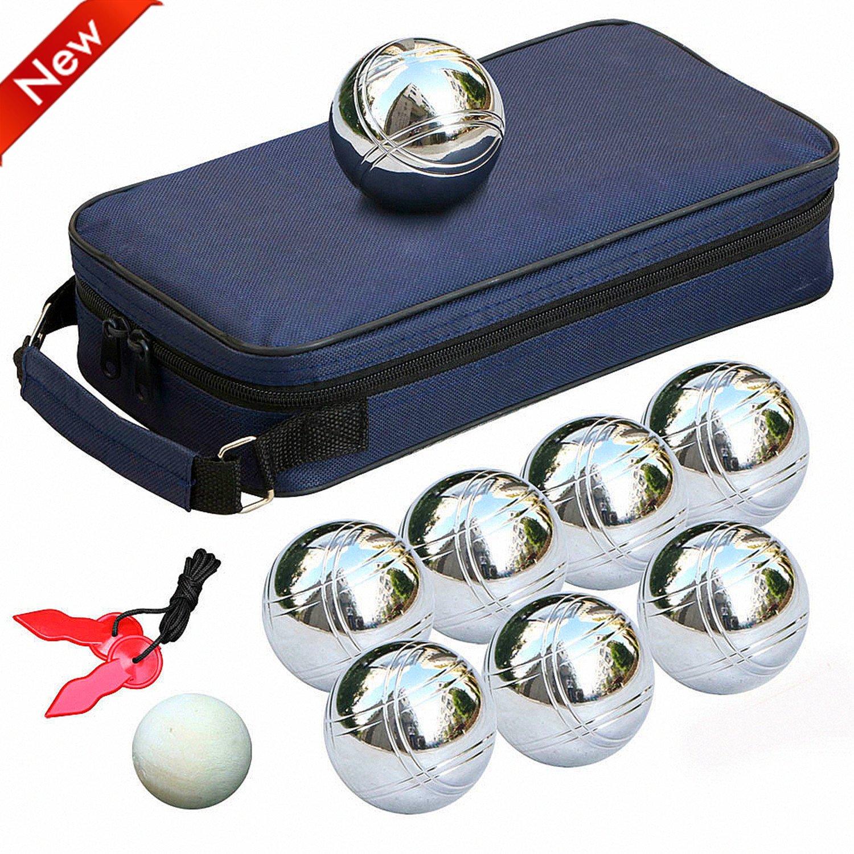 Popamazing® 8 acero francés bolas de petanca bolas jardín juego Set ...
