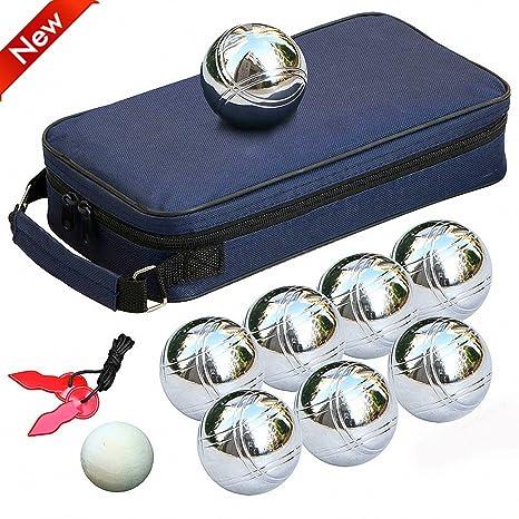 Popamazing® 8 Bolas de Petanca Francesa de Acero para Juego de jardín