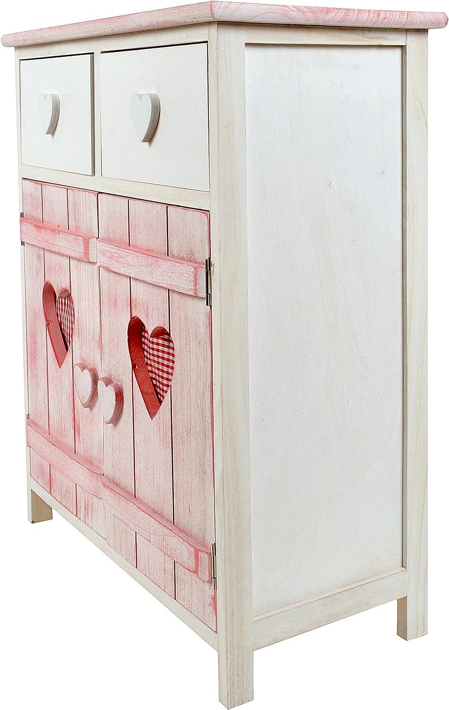 stile shabby//baita cassetti e panieri bianco e rosa Cassettonecuoricino