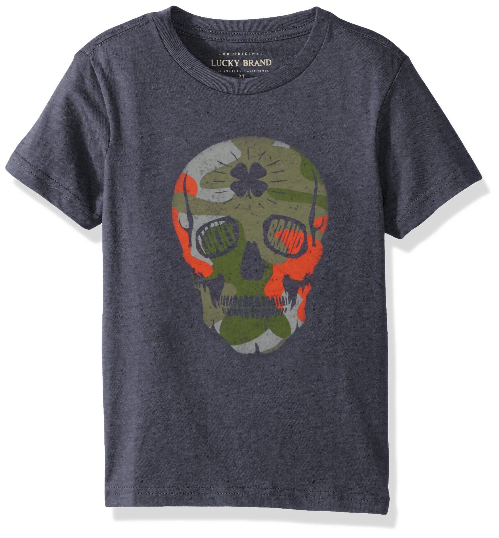 Lucky Brand Little Boys' Short Sleeve Graphic Tee Shirt, Peacoat Skull, 6
