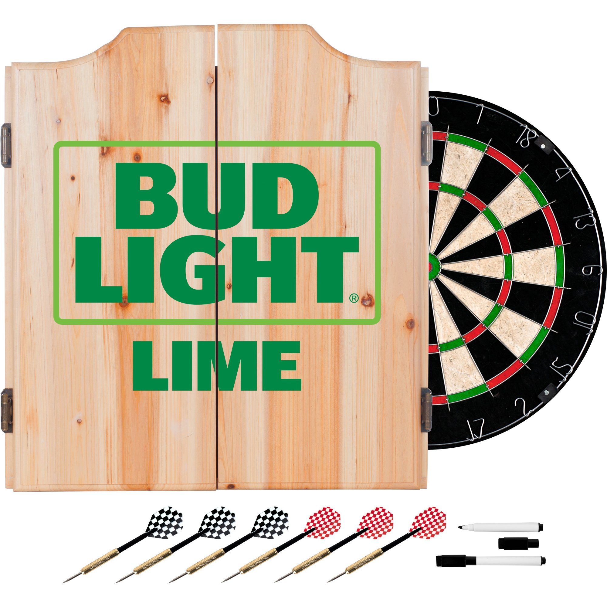 Bud Light Lime Wood Dart Cabinet Set