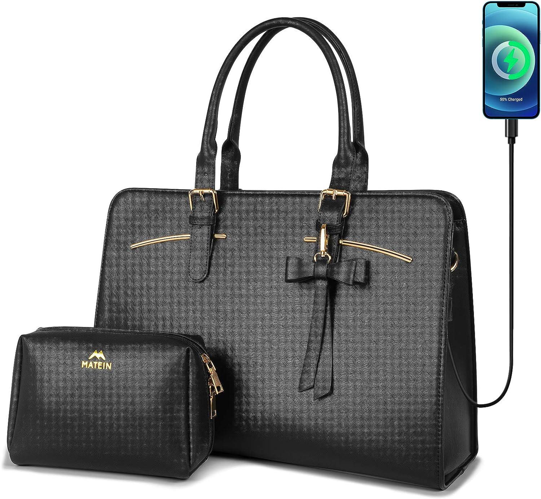 Laptop Tote Bag for Women, Large Waterproof PU Leather Work Briefcase with USB Charging Port Casual Computer Shoulder Bag Messenger fits 15.6 Inch, Business Handbag Satchel Purse 2pcs Set, Black