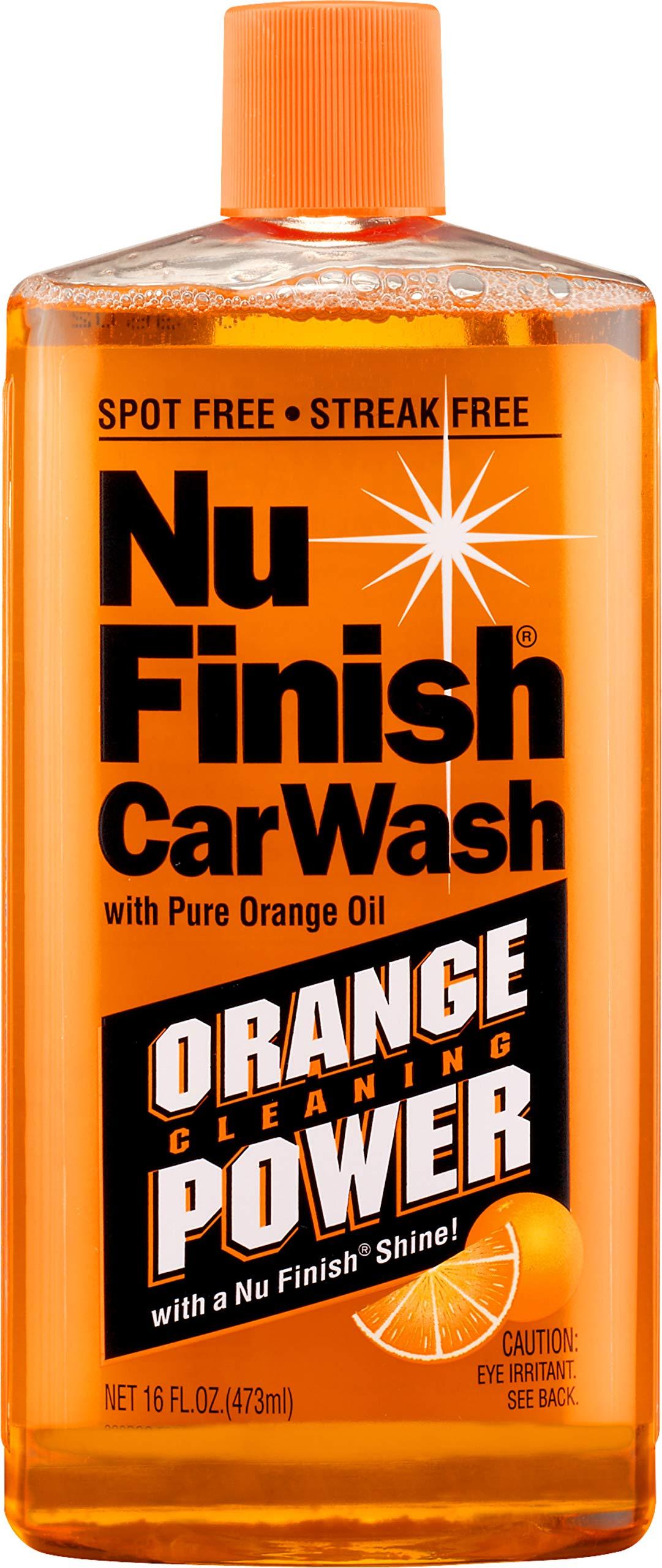 Nu Finish Car Wash Soap, No Spots Or Streaks, Pure Orange Oil Formula, Removes Tar, Tree Sap, Bugs, Bird Droppings, 16 oz.