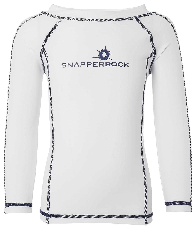 e5b5f36e2 SnapperRock camiseta baño UV manga larga niños - Blanco Pespunte Azul Marino   Amazon.es  Deportes y aire libre