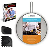 """Splatter Screen Stainless Steel 13"""" Diameter - Fine Mesh to Prevent Grease and Hot Oil Splatter from Pots and Frying Pans - Heavy Duty Construction with Resting Feet - Includes Gift Pan Scrapers"""