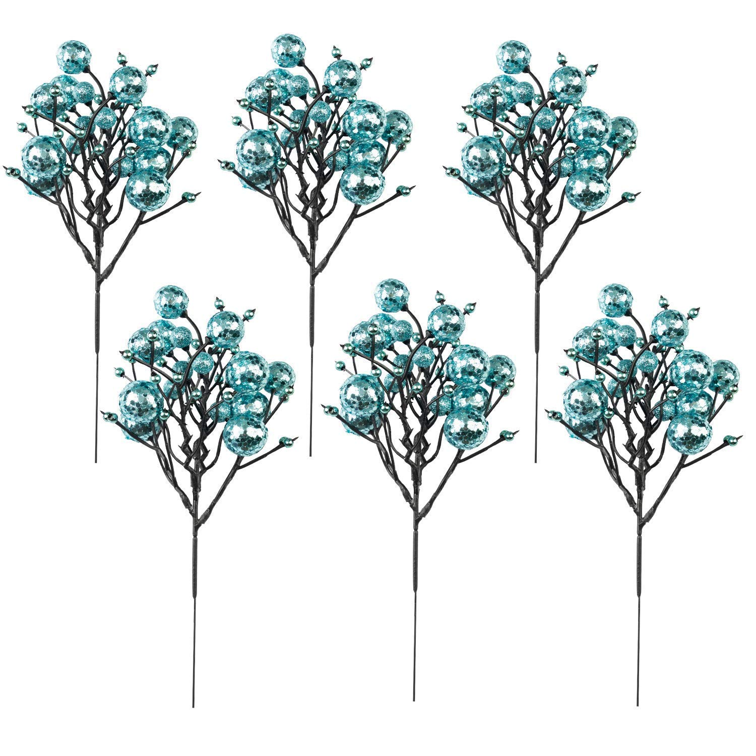 Ideapark-UK Christmas Berry Picks Decorations Artificial Glittered Berries Stems Crafts Tree Ornaments for ChristmasTree Wedding Centerpiece, Pack of 6 (Gold) Ideapark-12