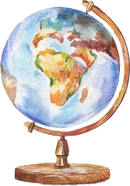 Amazon Com Simple Pretty World Earth Globe Watercolor Paint