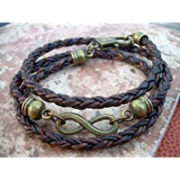Handmade Infinity Bracelet, Leather Bracelet, Triple Wrap, Mens, Womens, Natural Antique Brown/Bronze Braided