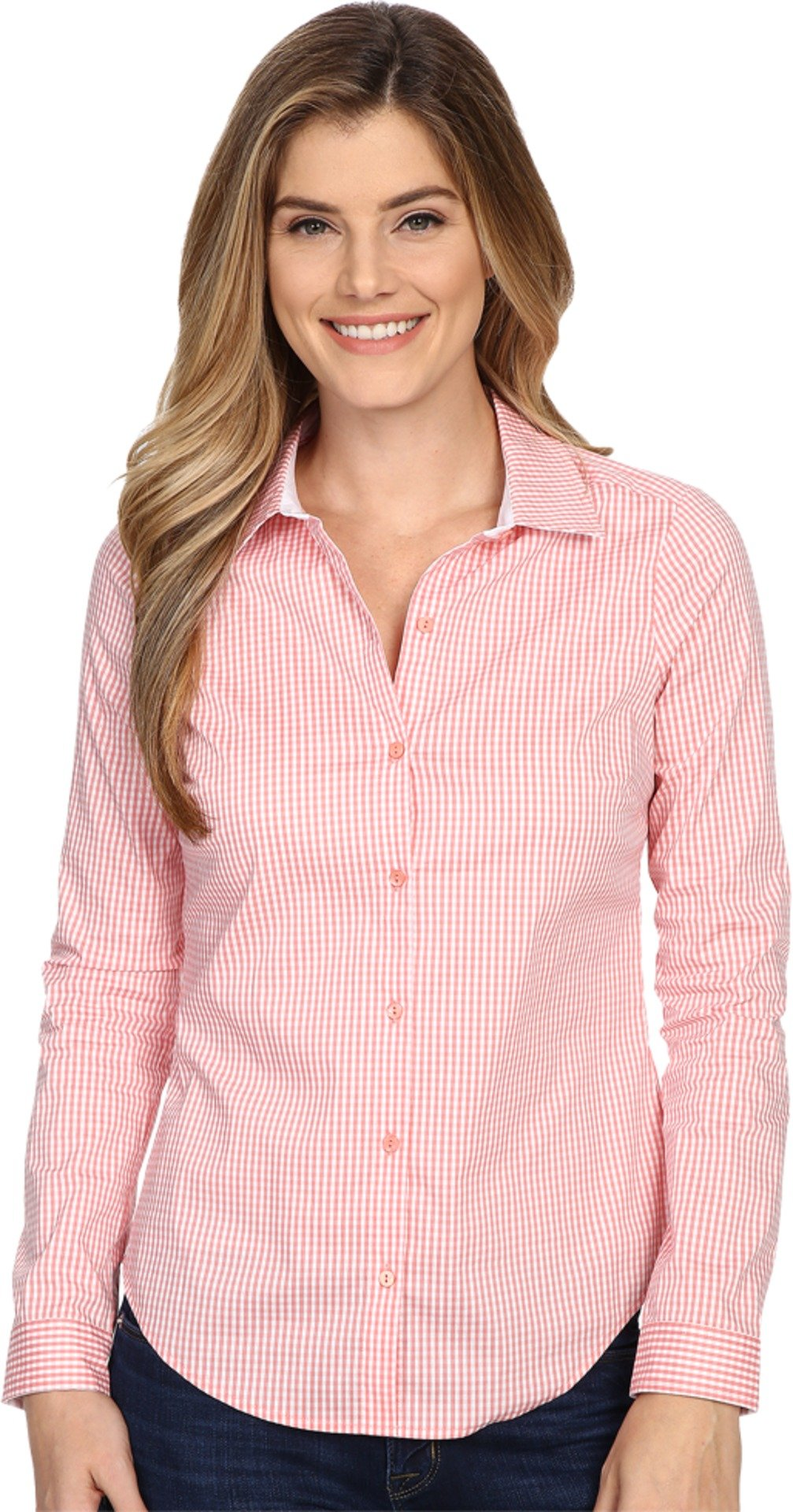 NYDJ Women's Fit Solution Woven Top Guava Gingham Button-up Shirt MD (US 8-10)