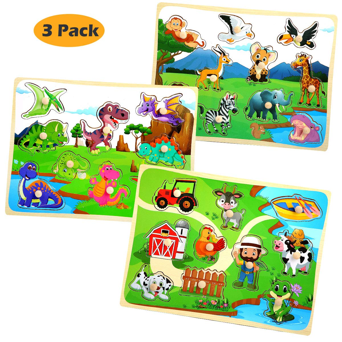 Wooden Puzzles for Toddlers Kids Ages 1 2 3 Years Old Set of 3 - Dinosaur, Safari, Farm Animal Pegged Puzzle Toy Color Shape Sorting Matching Learning Educational Toys for Preschool by HUADADA