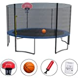 Exacme High Weight Limit Trampoline With Safety Pad & Enclosure Net and Ladder Combo With Basketball Hoop and Ball Included;T-Series, Orange (8foot, 10foot, 12foot, 13foot, 14foot, 15foot,16foo)