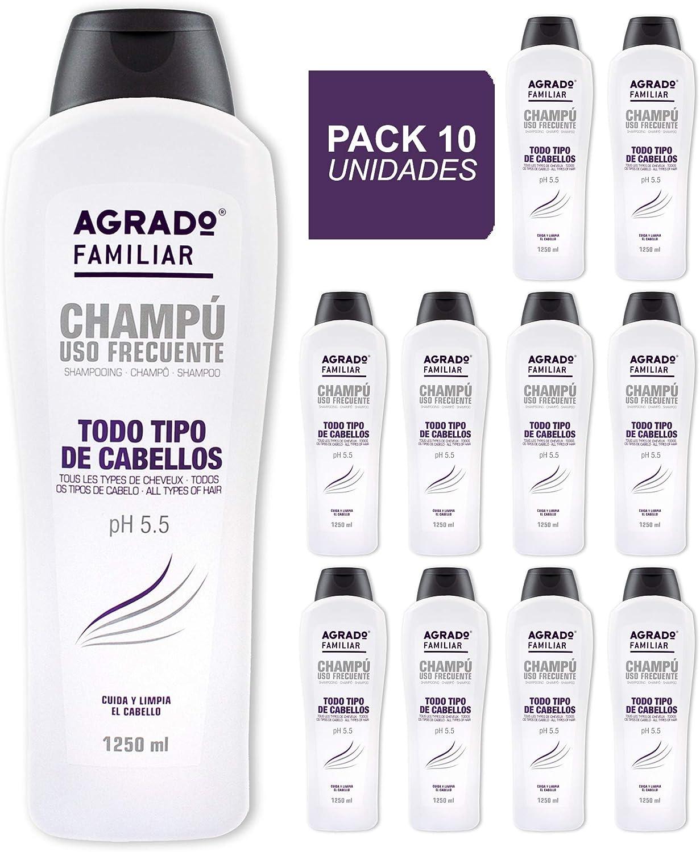 Champú Uso Frecuente Familiar Agrado 1250ml - Pack de 10 unidades: Amazon.es: Belleza