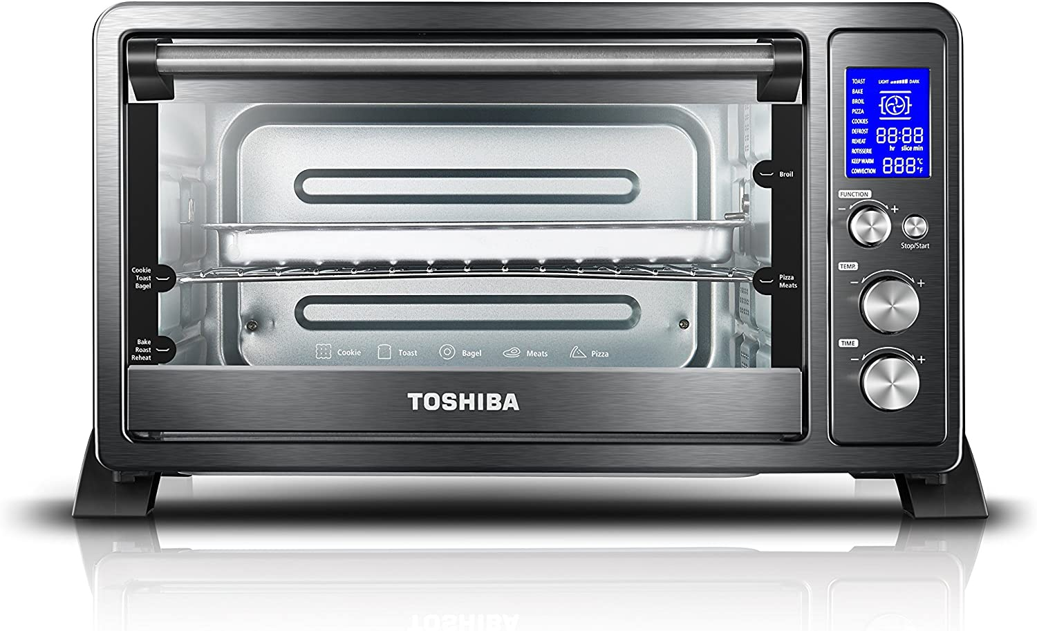 Toshiba AC25CEW-BS Digital Toaster Oven with Convection cooking and 9 Functions, 1500W, 6-Slice Bread/12-Inch Pizza, Black Stainless Steel