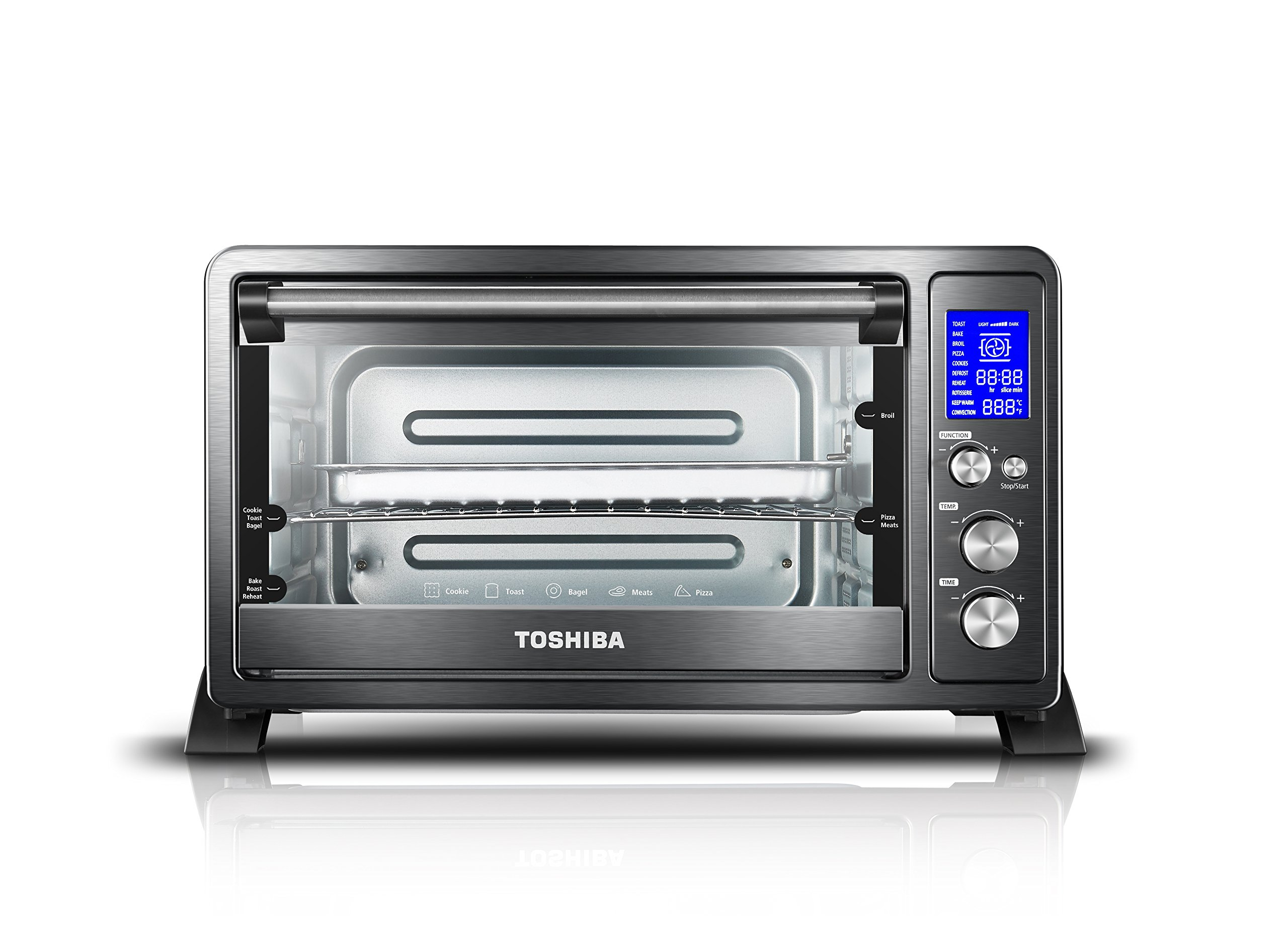 Toshiba AC25CEW-BS Digital Oven with Convection/Toast/Bake/Broil Function, 6-Slice Bread/12-Inch Pizza, Black Stainless Steel