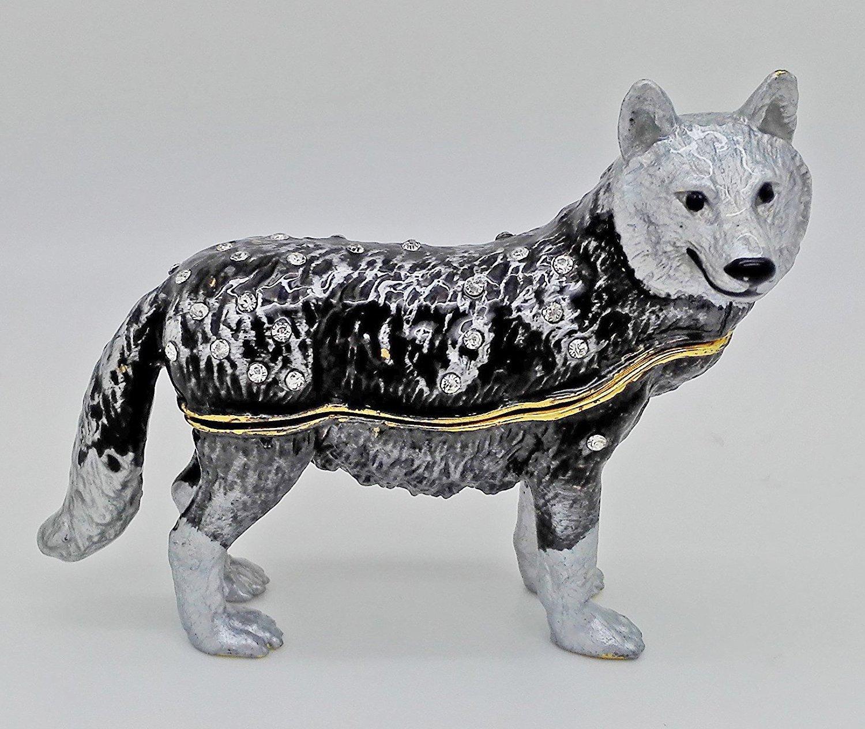 Pewter Wolf Handmade Jeweled Trinket Box Wolf Figurine Hinged Small Earring Holding Box