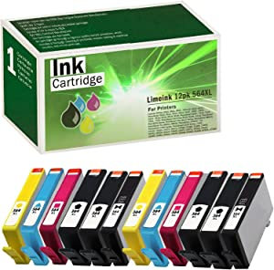 Limeink 12 Pack Remanufactured 564XL New Generation Ink Cartridges Set (4 Black 2 Photo Black 2 Cyan 2 Magenta 2 Yellow) for HP Photosmart 5510 5520 6510 6520 7510 7515 7520 7525 B8550 C5300 Printers