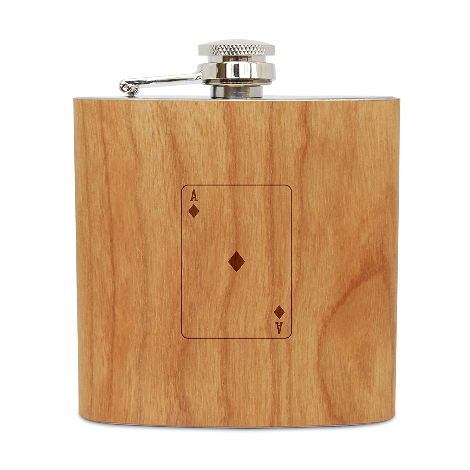 WOODEN ACCESSORIES COMPANY Cherry Wood Flask With Stainless Steel