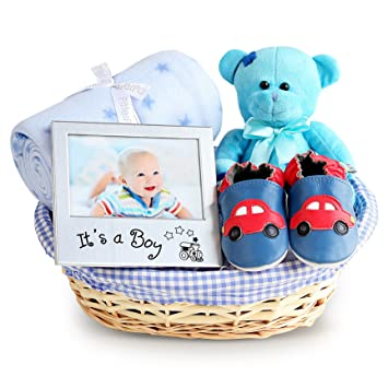 671449bd4569 Boy's Beautiful New Baby Gift Basket, Newborn Baby Hamper, Baby Shower  Ideas, Christening Gifts, Maternity Presents: Amazon.co.uk: Baby