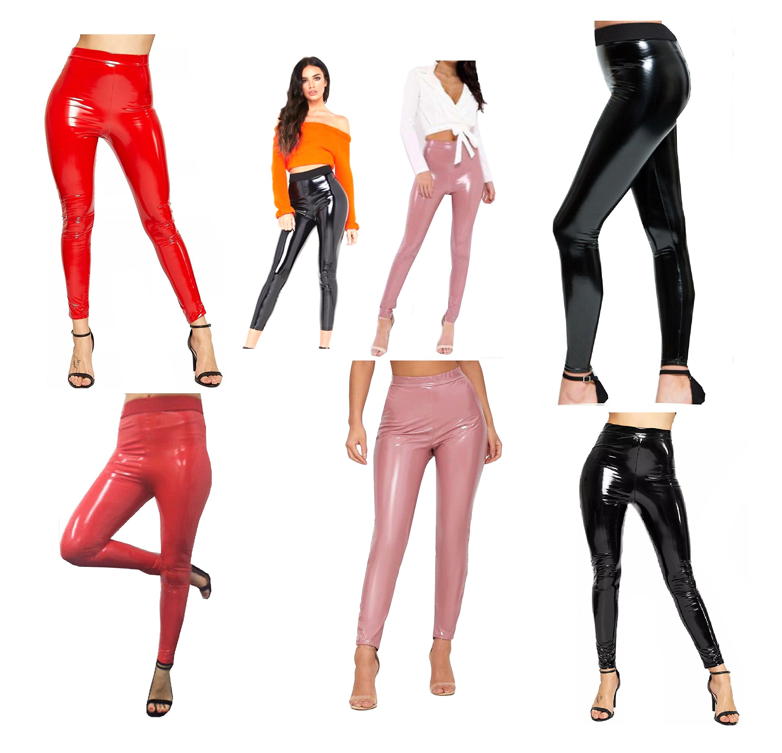 R KON Women Ladies Vinyl Wet Look Shiny PVC Disco High Waist Elasticated Leggings Pant 6-14