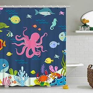 Stacy Fay Shower Curtain Kids Octopus Cartoon Underwater Sea Animal Fish 12 Hooks Deep Ocean Sea Turtle Shrimp Blue for Boys Girls Fabric 72 x 72 Inch Bathroom Decor