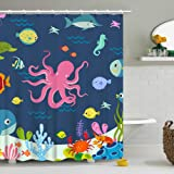 Stacy Fay Shower Curtain Kids Octopus Cartoon Underwater Sea Animal Fish 12 Hooks Deep Ocean Sea Turtle Shrimp Blue for…