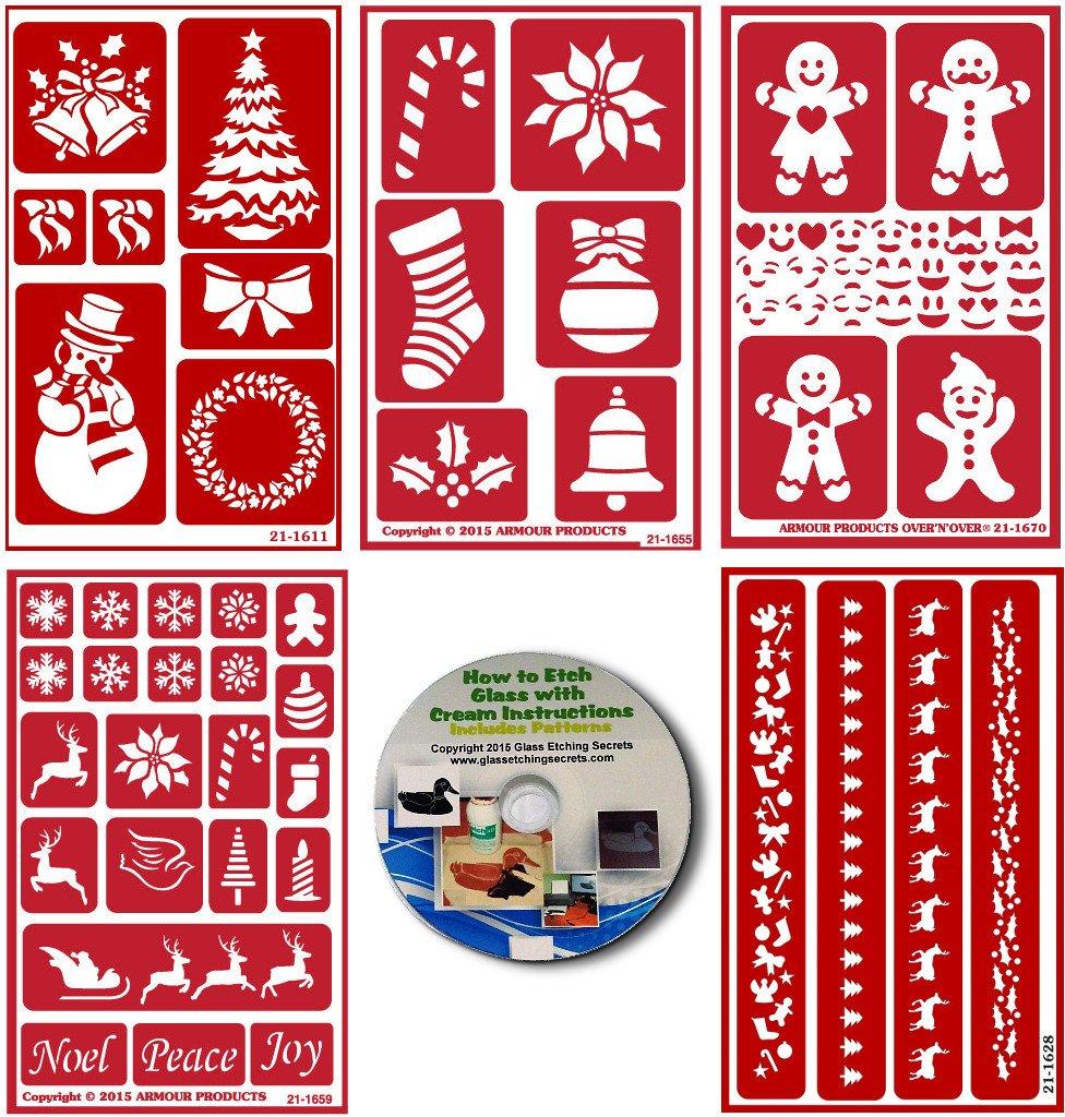 クリスマス用ステンシル5個パック、繰り返し使える + How to Etch CD   B01MT6TSNM