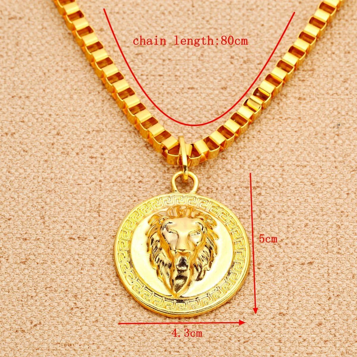 Homme Tons Or Hip Hop 3d grec Motif t/ête de lion M/édaillon pendentif Collier cha/îne de 80/cm