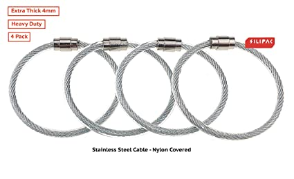 Silipac Large Key Ring Cable Wire Car Keychains Keyrings Loop Heavy Duty Tag Keepers Twist Lock Carabiner Rings Holder Stainless Steel Durable Organize