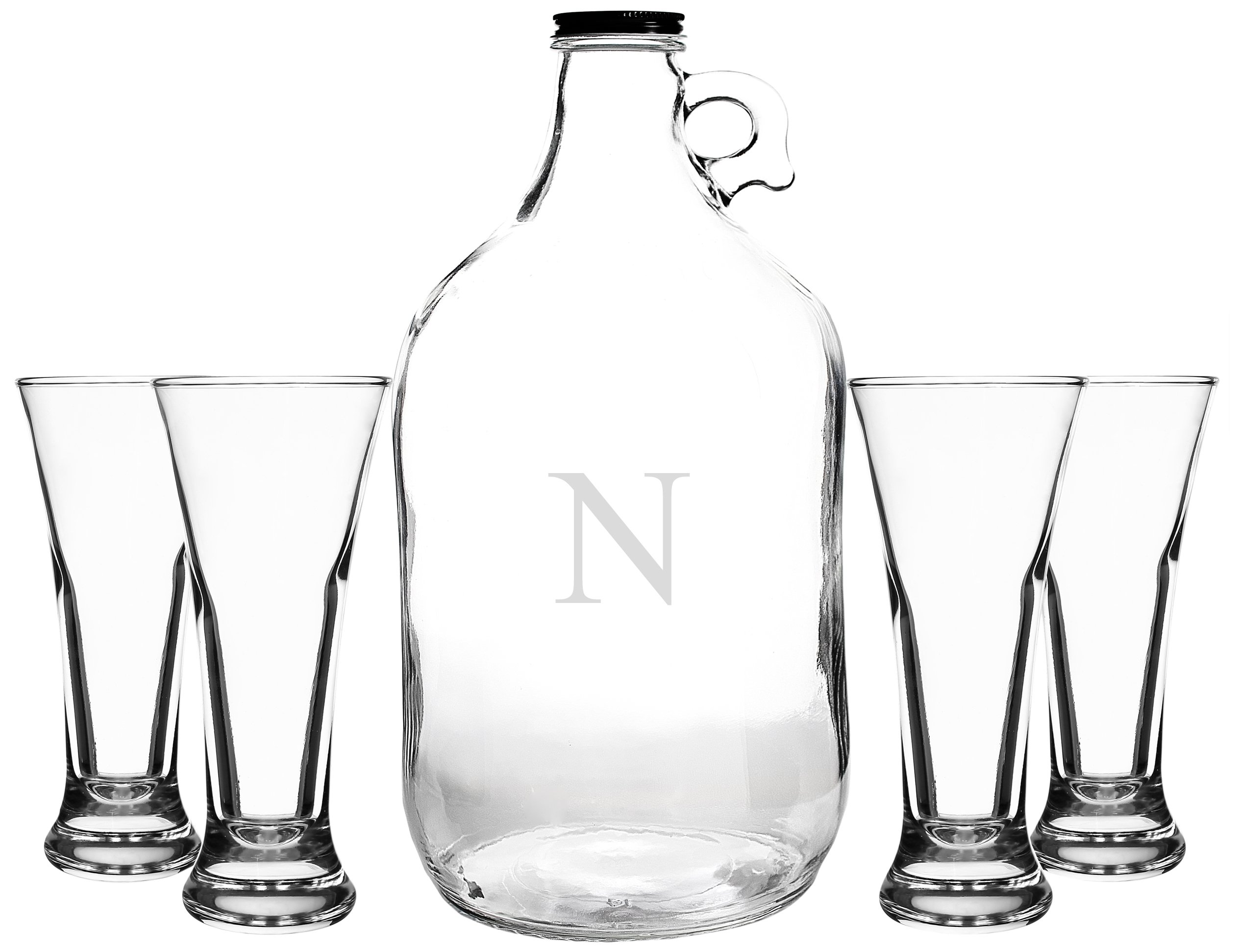 Cathy's Concepts Personalized Craft Beer Growler & Tasters Set, Letter N