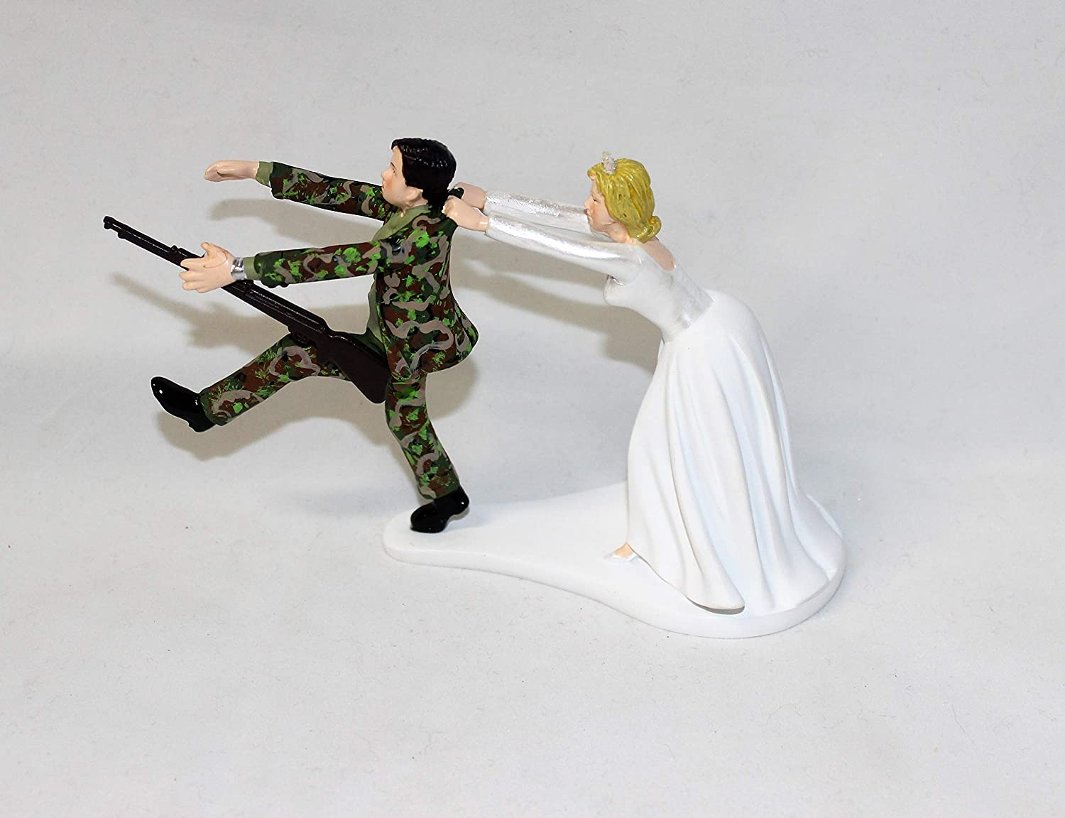 Wedding Party Reception ARMY Military Cake Topper Camo Groom with Gun