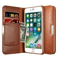 Capa Carteira para iPhone 7 / 8, KALAIDENG Royalle II [MAGNÉTICO][COURO c/ SUPORTE TPU][DINHEIRO e 3 CARTÕES] , Apple iPhone 7 / iPhone 8 - Marrom