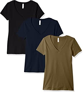 Clementine Apparel Women/'s Casual T Shirt Comfy Short Sleeve Pull Over Basic V Neck Top Tee 6640