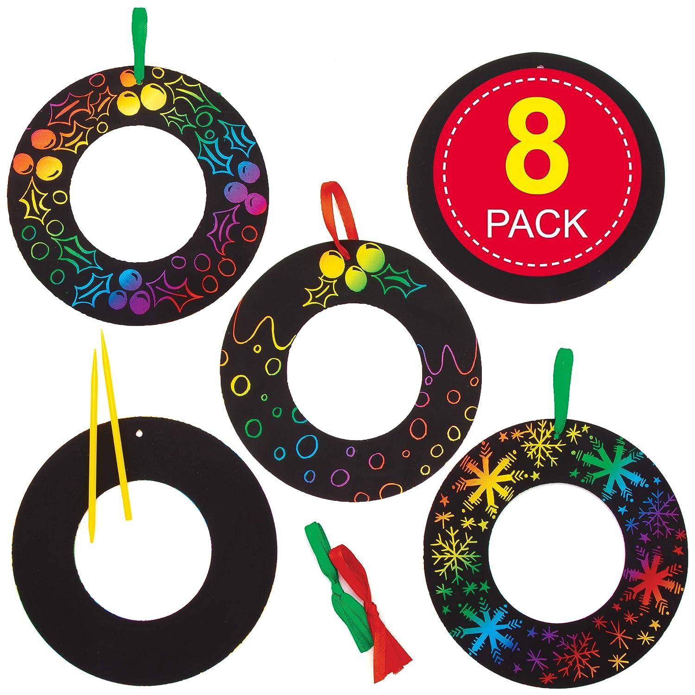 paquete de 8 Artes y manualidades para ni/ños Baker Ross AT289 Guirnaldas para rascar