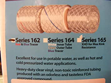 """MPI 162-0126 Reinforced PVC Tubing//Water Hose Clear ID 1//2/"""" x 50/' Series 162 MD"""