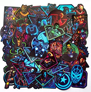 Avengers Superheros Marvel Stickers Pack, No-Repeat 49 Pcs Iron Man Captain America Spider Man Doctor Strange Thor Hulk Decals for Wall Water Bottles Laptop Luggage Phone X-Box Car Motorcycle.