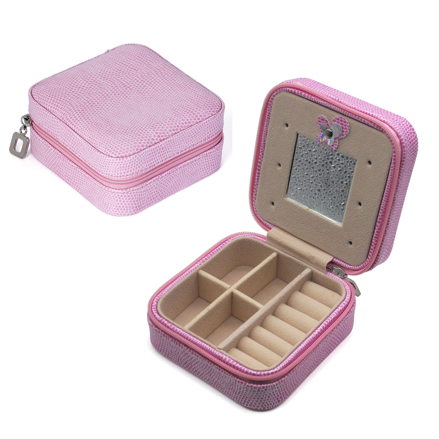 AVESON Portable Small PU Leather Travel Jewelry Box Organizer Cosmetic Storage Case with Mirror for Rings Earrings Necklace Ring (Pink)
