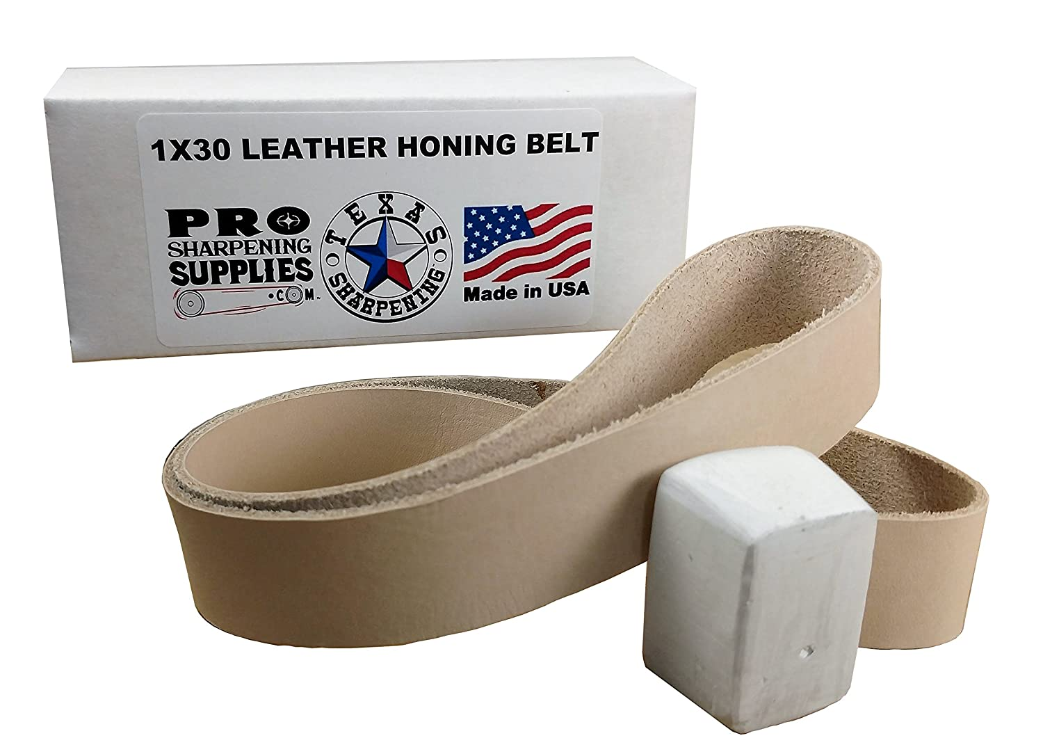 Pro Sharpening Supplies PSS1X30L Buffing Compound Included 1x30 Leather Honing Strop Belt