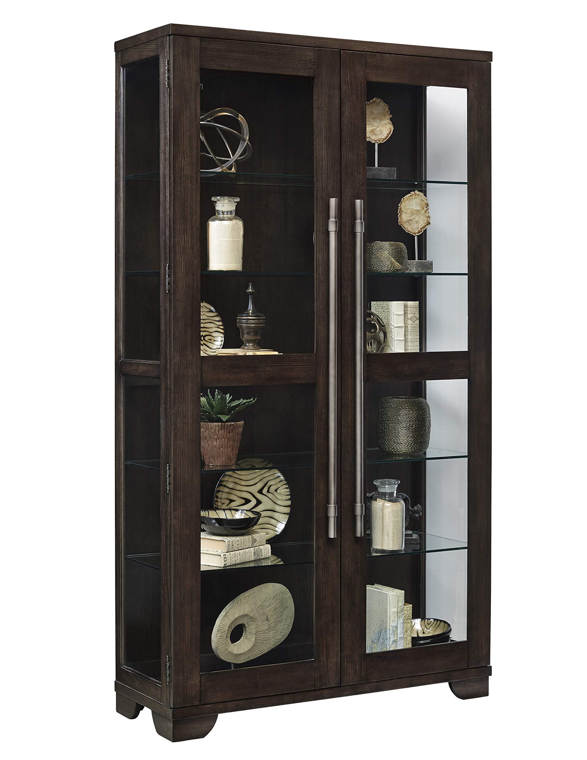 Pulaski P021585 Collection Zadie Two Door Curio Display Cabinet, 44'' x 16'' x 80'', Oak Brown