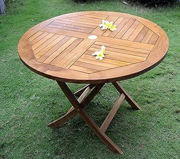 Table de jardin pliante en teck brut - diametre 100 cm: Amazon.fr ...