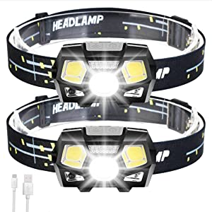 2Packs LED Headlamp Rechargeable USB Flashlights, 800 Lumens Head Lamp Headlight Headlamps with Red Light and Motion Sensor for Adults Kids, Waterproof, 5 Lighting Modes, for Running Hiking Camping