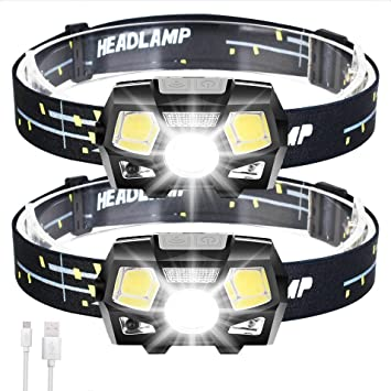 Black Headlamp Flashlight,Ultra Bright USB Rechargeable Headlight,5 Modes Headlamp,Waterproof Head Lamp with Motion Sensor and Red Safety Light for Outdoor Running,Camping,Fishing,Cycling,Repairing