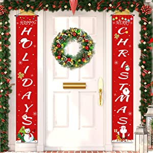 Merry Christmas Banner, Christmas Decorations Clearance Outdoor Christmas Door Cover, Christmas Banner for Wreaths Xmas Clearance Room Outside Red Door Decor