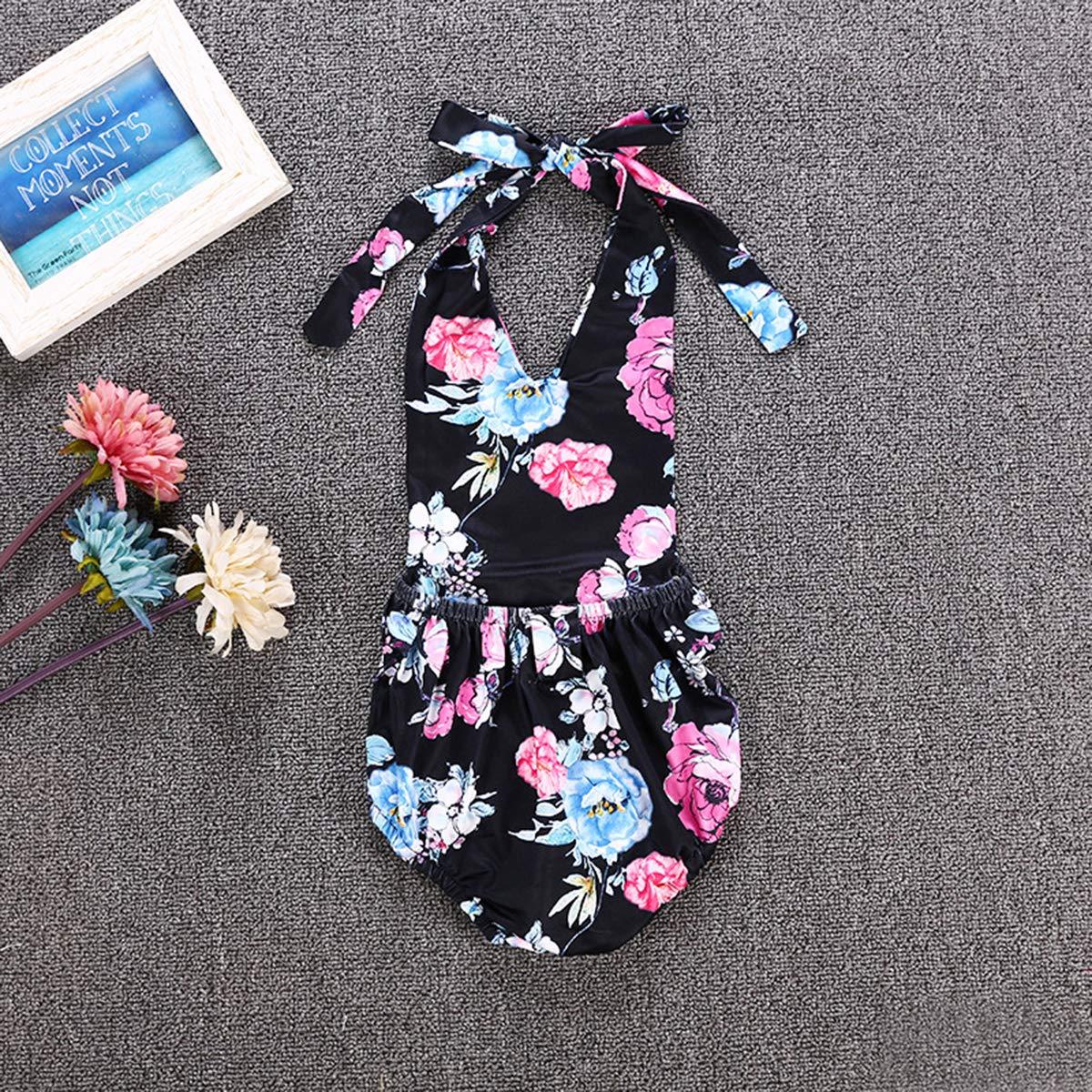 Newborn Baby Girl Summer Romper Sleeveless Clothes Flower Print Jumpsuit Bodysuit Outfit Set