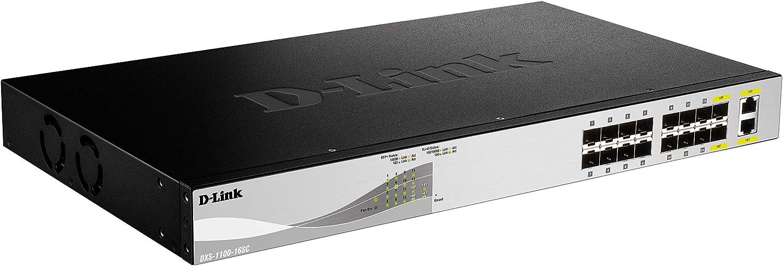14 puertos SFP+ y 2 puertos combo 10GBASE-T//SFP+, 1U, control ancho de banda, VLAN, control de tormentas de tr/áfico, IGMP, detecci/ón de bucles D-Link DXS-1100-16SC Switch 10GbE Gestionable Layer 2